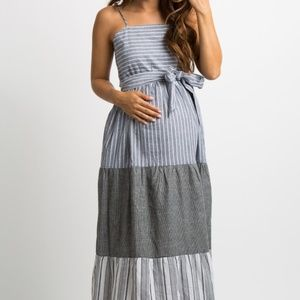 NWT Pinkblush Black and Gray Tiered Maxi Dress